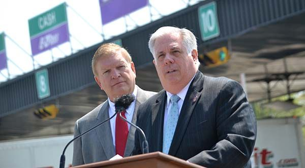 From left, Department of Transportation Secretary Pete K. Rahn and Governor Larry Hogan. (The Daily Record / Bryan Sears.)