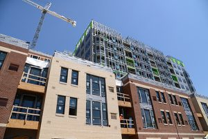 The Rotunda, shown here during construction, features a variety of amenities residents tend to look for when choosing a space in a mixed-use development with retail and residential. (The Daily Record file / Maximilian Franz)
