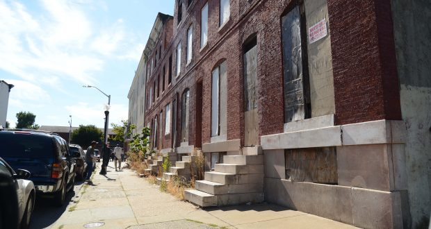 In this 2013 photo, Houses along the 500 block of Wilson Street in West Baltimore. (Maximilian Franz/The Daily Record)
