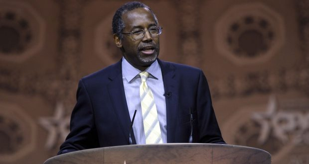 This March 8, 2014, file photo shows Dr. Ben Carson, professor emeritus at Johns Hopkins School of Medicine, speaking at the Conservative Political Action Conference annual meeting in National Harbor, Md. Carson, a retired neurosurgeon turned conservative political star, has confirmed that he will seek the Republican presidential nomination in 2016. Carson announced his candidacy during an interview aired Sunday, May 3, 2015, by Ohio's WKRC television station  (AP Photo/Susan Walsh, File)