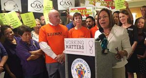 Montgomery County councilwoman Nancy Navarro speaks in support of the paid sick leave bill before its final vote Tuesday. (The Daily Record / Katelyn Newman)