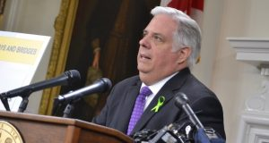 In this June 25 photo, Gov. Larry Hogan discusses test results showing that an aggressive form of lymphoma has not spread to his bone marrow. (Bryan P. Sears/The Daily Record)