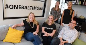 Standing from left, Brooke Baader, a marketing intern; and Ali Lord, the community manager; Seated from left, Michelle Farquharson, the director of education; Jennifer Meyer, the chief executive officer;  Sean McElroy, the director of membership and partnerships, at Betamore in Federal Hill.