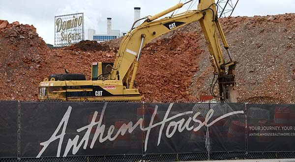 Construction has begun at the site of Anthem House in Baltimore. (The Daily Record / Maximilian Franz)