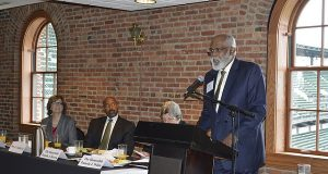 Wilhelm Joseph, executive director of Maryland Legal Aid, speaks at the Equal Justice Council awards on Tuesday. (Patrick Tandy / Maryland State Bar Association submitted photo)