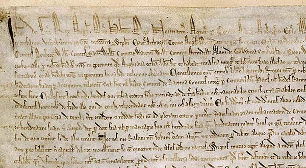 One of four surviving copies of the 1215 Magna Carta. This copy is one of two held at the British Library. (The Barons and King John of England / public domain via Wikimedia Commons)
