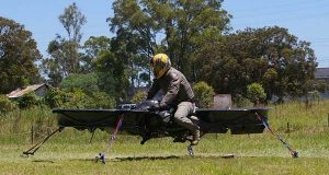 """Malloy Hoverbike undergoing tethered ground testing, prior to untethered tests, in 2010.  (""""Malloy hoverbike 2010"""" Wikimedia Commons / Caractacus Potts / CC BY-SA 3.0)"""