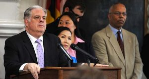"""Maryland Gov. Larry Hogan speaks during a news conference about his cancer diagnosis in Annapolis on Monday. Hogan has """"very advanced"""" and """"very aggressive"""" cancer of the lymph nodes, but he said Monday he will continue to work as the state's chief elected official. (Algerina Perna/The Baltimore Sun via AP)"""
