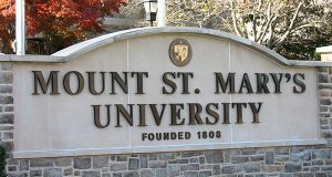 Mount St. Mary's sign (Wikimedia Commons / public domain)