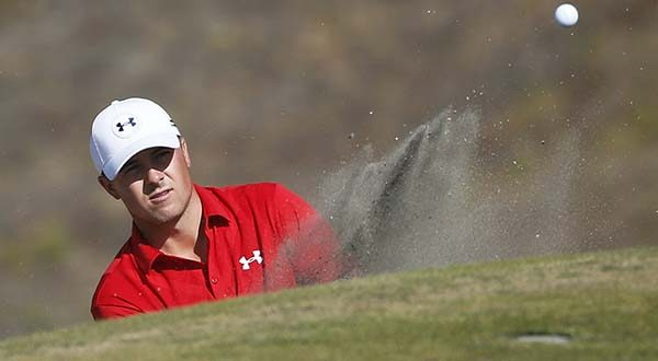 Jordan Spieth hits out of the bunker on the ninth hole during the third round of the U.S. Open golf tournament at Chambers Bay on Saturday in University Place, Wash. (AP Photo/Lenny Ignelzi)