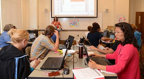Marie desJardins, professor of computer science and associate dean of engineering and information technology at the University of Maryland College Park, teaches the CS Matters continuing education course on Wednesday to Maryland high school teachers to train them on teaching AP Computer Science Principles. (The Daily Record/Maximilian Franz)