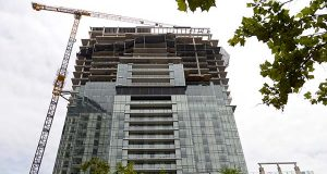 The Four Seasons condominium  was under construction last year at Harbor east. (The Daily Record / Maximilian Franz)
