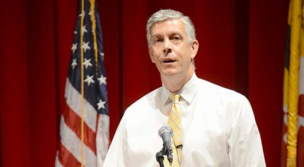 U.S. Secretary of Education Arne Duncan speaks Monday at the University of Maryland, Baltimore County. (The Daily Record/Maximilian Franz)