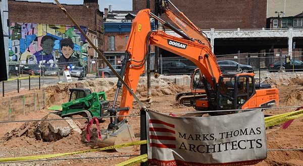The construction site at 211 West Mulberry Street where the Mulberry at Park Apartments are being constructed. (The Daily Record / Maximilian Franz)