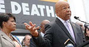 U.S. Rep. Elijah Cummings, speaking at the task force news conference Monday, says he has asked Gov. Larry Hogan and Attorney General Brian Frosh to negotiate a lower price for naloxone, a drug to counteract heroin overdoses. (Maximilian Franz / The Daily Record)