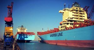 "A Maersk Line ship docks in Baltimore in 2012. (Flickr / Maersk Line / ""Baltimore docking on 24 November 2012"" / CC BY-SA 2.0)"