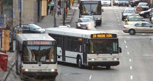 MTA Buses on Baltimore Sreet in downtown Baltimore. (File)