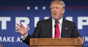 Republican presidential hopeful Donald Trump speaks at his South Carolina campaign kickoff rally in Bluffton, S.C., Tuesday.  (AP Photo/Stephen B. Morton)