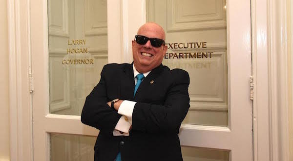 "Gov. Larry Hogan shows off what he called his new ""aerodynamic look"" that is the result of chemotherapy treatments for non-Hodgkin Lymphoma (Photo courtesy of Gov. Larry Hogan)"