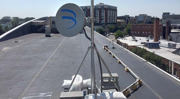 Montgomery County's ultraGig initiative uses dishes to create a wireless, superfast link that can eliminate the need for installing fiber-optic cable to connect buildings to the internet. (FiberTower submitted photo)
