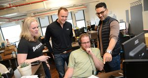 From left, Jennifer Meyer, CEO of Betamore in Federal Hill, with Lee Jokl, Co-Founder, COO, Cody White, Account Executive, and Saad Alam, Co-Founder, CEO, of Citelighter. (The Daily Record/Maximilian Franz),