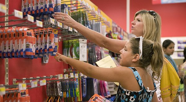 Cathy Johnson and her daughter Mackinley (10), who is going into the fifth grade at Timonium Elementary school shop for back to school supplies in 2009 at the Target in Cockeysville, Md. Photo by Rich Dennison/The Daily Record