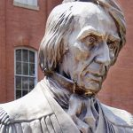 This 2007 photo shows a bust of Roger Brooke Taney in front of Frederick's City Hall in Frederick. (Sam Yu/The Frederick News-Post via AP)