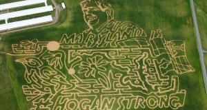 Arial view of the Lawyer Farms corn maze design featuring Gov. Larry Hogan. (Photo courtesy Lawyer's Farm)