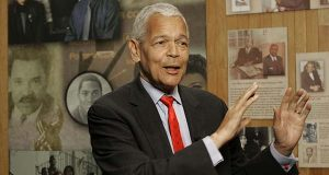 In this Oct. 13, 2006, file photo, Julian Bond, chairman of the Board for The National Association for the Advancement of Colored People, gestures as he talks to the media about the organization at The University of South Carolina in Columbia, S.C. (AP Photo/Mary Ann Chastain, File)