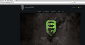 The armorglory.com website, shown here in a screenshot, represents Armor & Glory LLC, another Maryland-based athletic apparel company being used by Under Armour.
