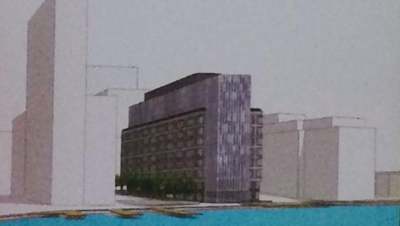 Photo of an early schematic of Wills Wharf the latest proposed project at Harbor Point.