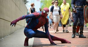 Spiderman strikes a pose outside the Baltimore Convention Center. (The Daily Record file photo /Maximilian Franz).