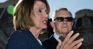 House Minority Leader Nancy Pelosi of Calif., left, accompanied by Senate Minority Leader Harry Reid of Nev., speaks to reporters outside the West Wing of the White House in Washington on Thursday after a meeting with President Barack Obama.    (AP Photo/Manuel Balce Ceneta)