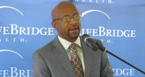 Dr. Maurice Reid, CEO of ExpressCare Urgent Care Centers, discusses a facility being built on the campus of Sinai Hospital in Baltimore on Sept. 2, 2015. Photo by Daniel Leaderman/The Daily Record