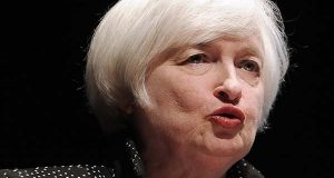 Federal Reserve Chair Janet Yellen speaks on inflation dynamics and monetary policy at the University of Massachusetts, Thursday, Sept. 24, 2015, in Amherst, Mass. The talk comes one week after the central bank decided to keep interest rates at record low, in part because of persistently low inflation. (AP Photo/Jessica Hill)
