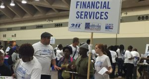 Homeless people from the Baltimore area lined up for financial advice at the United Way's fourth annual Project Homeless Connect on Thursday.
