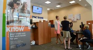 """PNC's revamped North Charles Street branch, which opened in March of last year, has been dubbed by the company as the """"branch of the future."""" (The Daily Record/Maximilian Franz)"""