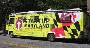 Startup Maryland's Pitch Across Maryland bus tour came to Towson University Sept. 23, 2015. (Daniel Leaderman/The Daily Record)