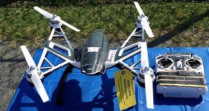 This photo shows a Yuneec Typhoon drone and controller Monday, Aug. 24, 2015, in Jessup, Md. Maryland State Police and prison officials say two men planned to use the drone to smuggle drugs, tobacco and pornography videos into the maximum-security Western Correctional Institution near Cumberland, Md. Police arrested the men with the drone, the materials and a handgun in a vehicle Saturday, Aug. 22, 2015. (AP Photo/David Dishneau)