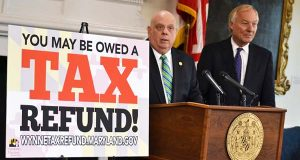 Gov. Larry Hogan and Comptroller Peter Franchot. (The Daily Record / Bryan P. Sears)