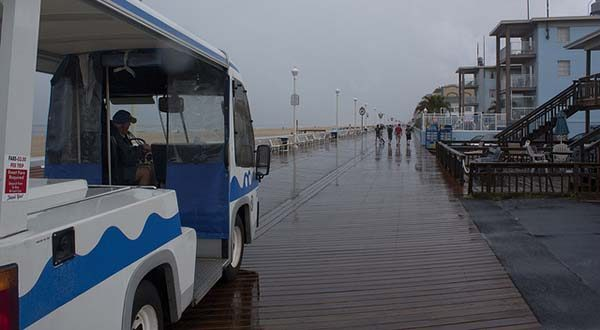 "A tram waits in a downpour and lightning storm in August 2012 in Ocean City.  (Flickr / Ryan Crierie / ""Tram and Boardwalk"" / CC BY 2.0 / Cropped and resized)"