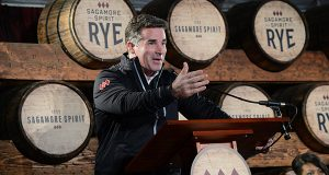 """My business is sports, health and fitness. What I like is horse racing and whiskey,"" Under Armour CEO Kevin Plank said with a grin in October 2015 at the groundbreaking of Sagamore Spirit's distillery. (Maximilian Franz/The Daily Record)"