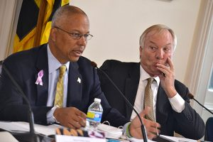 Lt. Gov Boyd Rutherford, left, and Comptroller Peter Franchot at the Board of Public Works meeting Wednesday. (The Daily Record / Bryan Sears.)