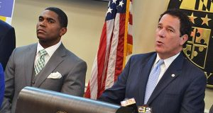 Baltimore County Executive Kevin Kamenetz, right, speaks in a news conference as county schools Superintendent Dallas Dance stands by on Tuesday. (The Daily Record / Bryan P. Sears)