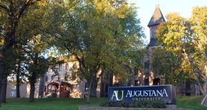 The campus of Augustana University in Sioux Falls, S.D. A student facing charges of sexual assault is suing the school in an effort to delay its internal disciplinary process until his criminal proceedings are completed. (Dirk Lammers/AP)