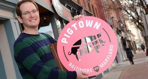 Ben Hyman, Executive Director of Pigtown Main Street. Since it was founded in 2000, Pigtown Main Street has played a large role in marketing small businesses in the neighborhood. (The Daily Record/Maximilian Franz)