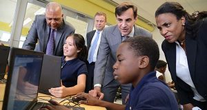 The Johns Hopkins University and Baltimore City Schools have partnered to create the city's first pre-K through 8th grade school dedicated to giving students a foundation in engineering and computer skills. Every class at the Barclay Elementary/Middle School will feature elements of engineering and computer science, using a curriculum supported by educators at the Johns Hopkins Whiting School of Engineering. The school is opening a new cutting-edge laboratory, cofounded by city schools and the university, outfitted with 3D printers, custom-programmed computers, smartboards and a makerspace. All together, the partnership represents a multimillion-dollar, 10-year commitment, with Johns Hopkins investing nearly $5 million. (The Daily Record/Maximilian Franz)