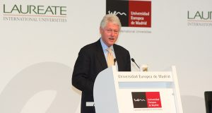Laureate's IPO and heightened interest in the company may come at an awkward time for Democratic presidential candidate Hillary Clinton, who has been critical of for-profit schools. Laureate paid her husband, former President Bill Clinton, pictured, almost $16.5 million during his five years as chancellor, according to tax returns filed with Clinton's campaign. (File photo)