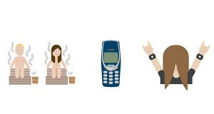 These are computer-generated emojis made available by Finland's Foreign Ministry on Wednesday. Finland is launching a series of 'national emojis' that include people sweating in saunas, classic Nokia phones and heavy metal head-bangers. Petra Theman from the Finnish Foreign Ministry says the emojis will be released as a way to promote the country's image abroad and are based on themes associated with Finland. (Finnish Foreign Ministry via AP)