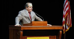U.S. Supreme Court Justice Antonin Scalia  speaks at the University of Minnesota as part of the law school's Stein Lecture series, Tuesday, Oct. 20, 2015, in Minneapolis. (AP Photo/Jim Mone)